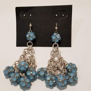 🛍Chainmail Woven Silver & Blue Ball Drop Earrings